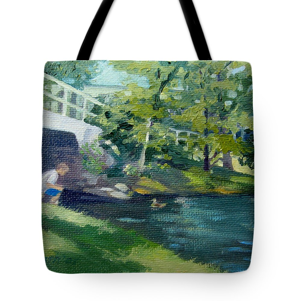 Pond At Bradford College Tote Bag featuring the painting Feeding The Ducks by Leslie Alfred McGrath