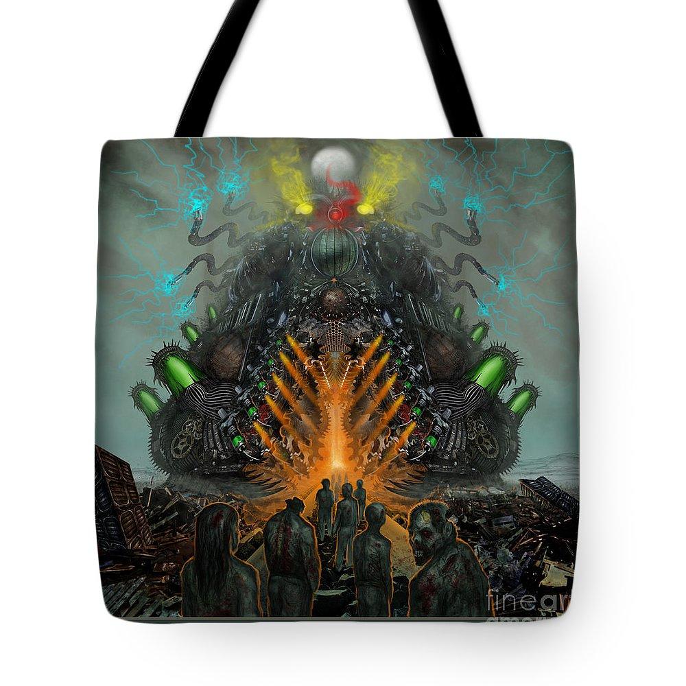 Death Metal Tote Bag featuring the digital art Feeding The Juggernaut by Tony Koehl