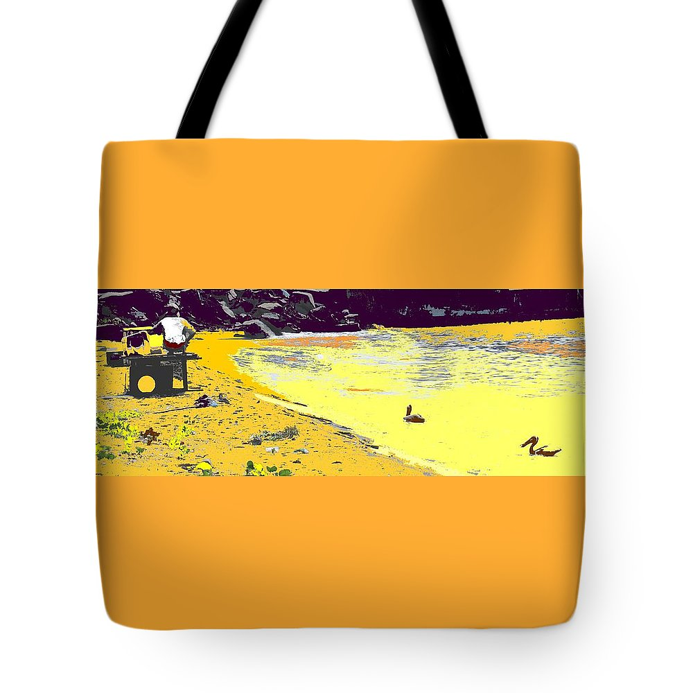 St Kitts Tote Bag featuring the photograph Feeding The Pelicans by Ian MacDonald