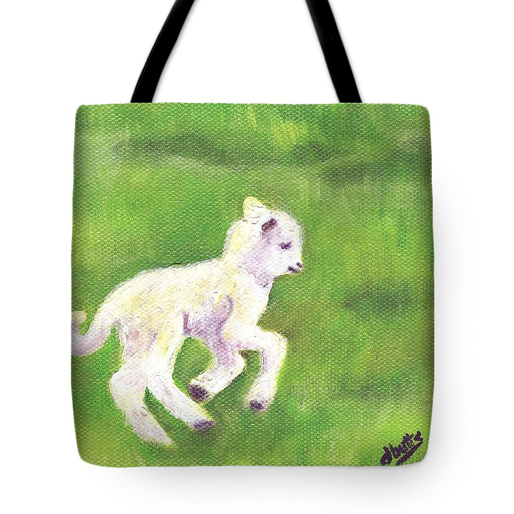 Sheep Art Tote Bag featuring the painting Feelin Frisky by Deborah Butts