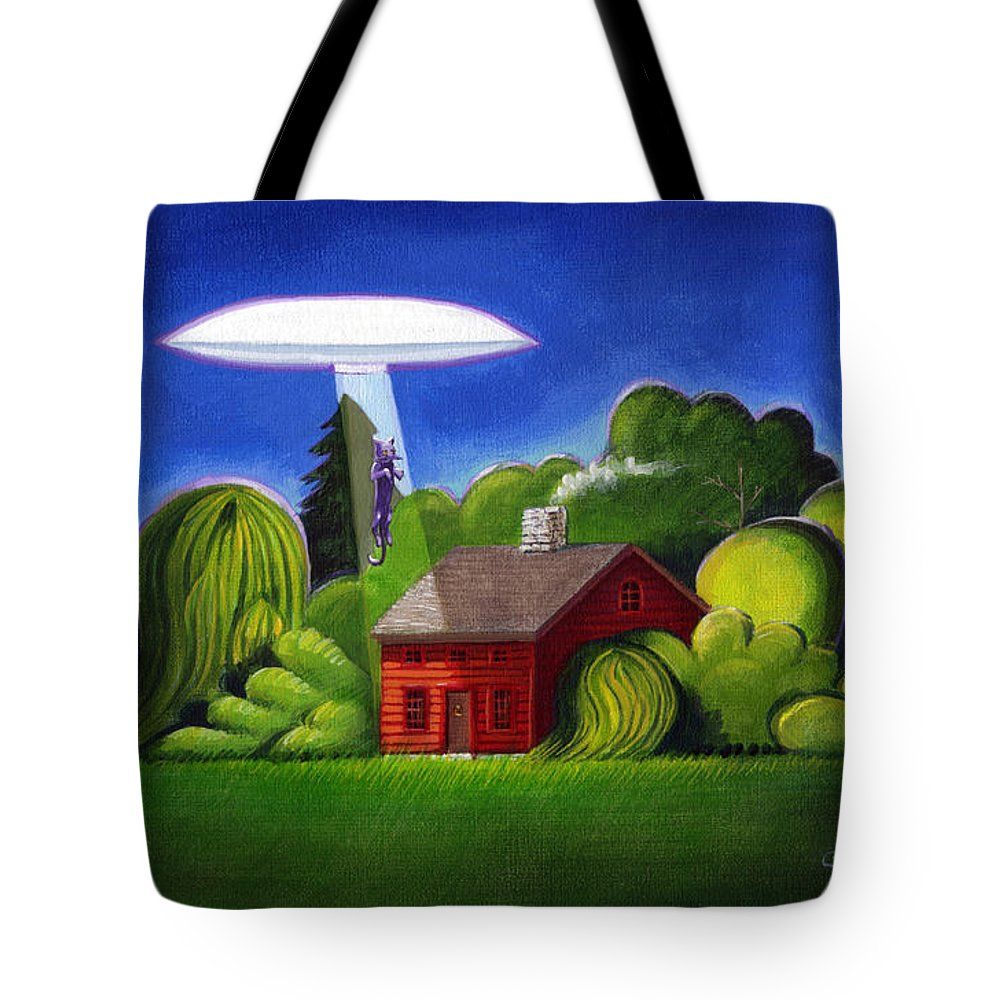 Deecken Tote Bag featuring the painting Feline Ufo Abduction by John Deecken