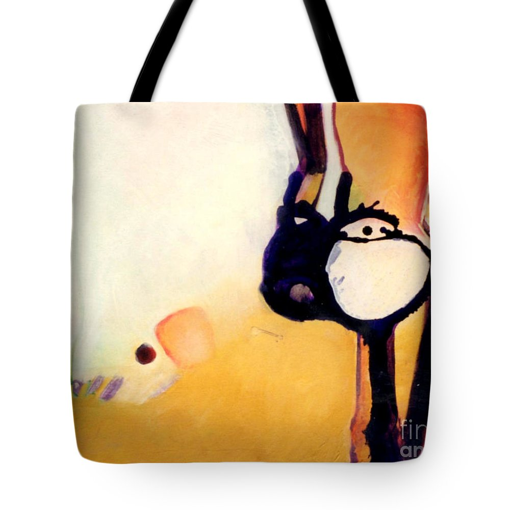 Abstract Tote Bag featuring the painting Felix A Whole New Ballgame by Marlene Burns