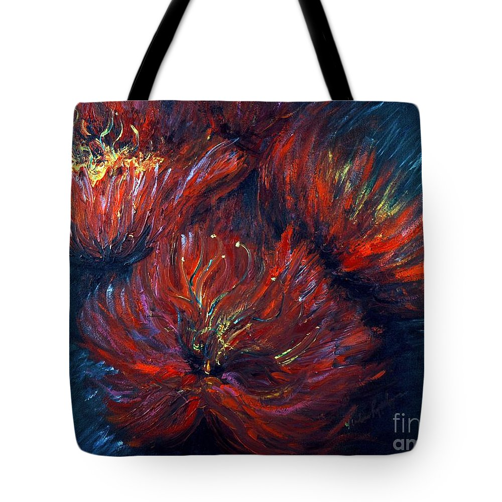 Abstract Tote Bag featuring the painting Fellowship by Nadine Rippelmeyer
