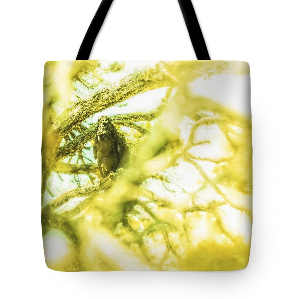 Abstract Tote Bag featuring the digital art Fellowship Of The Raven by Will Jacoby Artwork