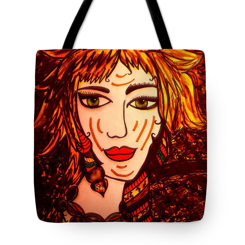 Woman Tote Bag featuring the painting Female Animal by Natalie Holland