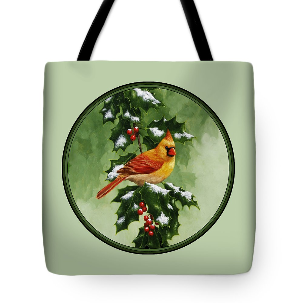 Birds Tote Bag featuring the painting Female Cardinal And Holly Phone Case  by Crista Forest 5d2695faf7ed2