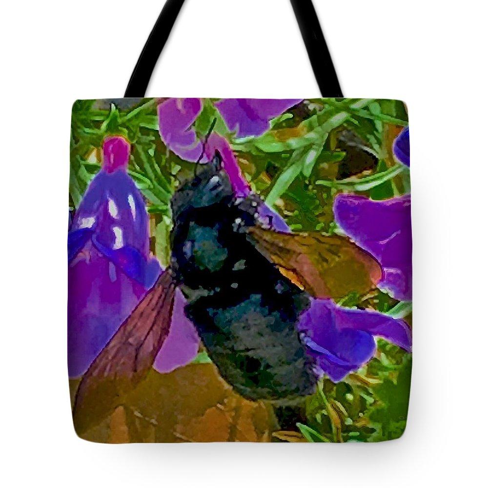 Female Carpenter Bee On Penstemons Tote Bag featuring the photograph Female Carpenter Bee On Penstemons by Scott L Holtslander