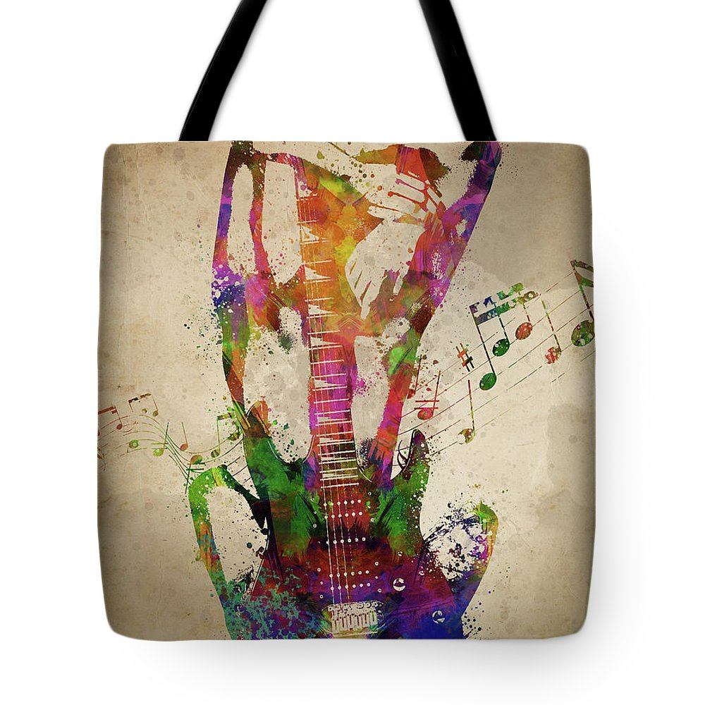 Guitar Tote Bag featuring the digital art Female Guitarist by Aged Pixel