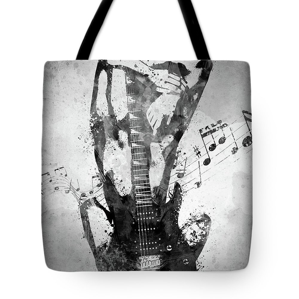 Guitar Tote Bag featuring the digital art Female Guitarist White and Black by Aged Pixel