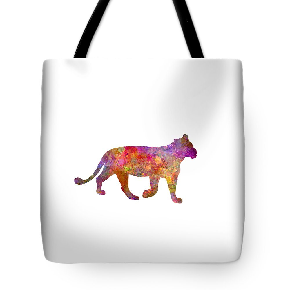 Female Tote Bag featuring the painting Female Lion 01 In Watercolor by Pablo Romero
