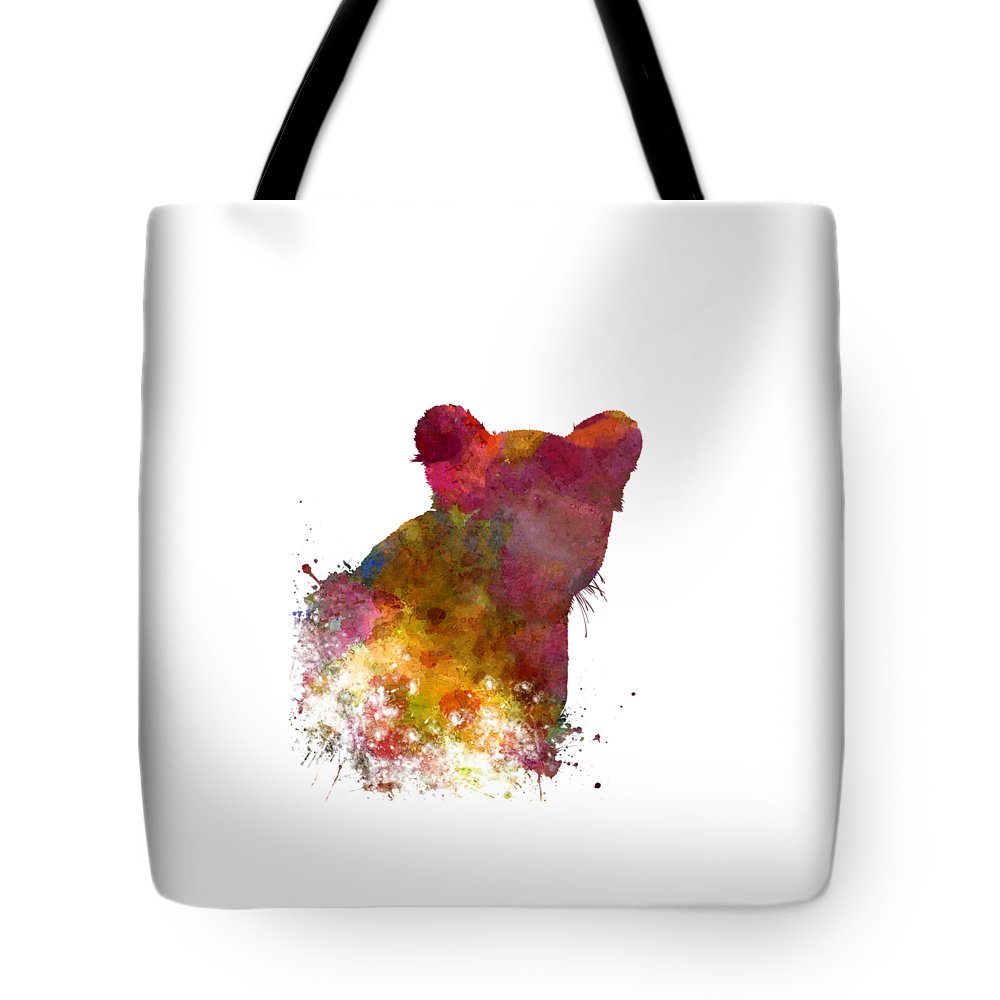 Female Tote Bag featuring the painting Female Lion 02 In Watercolor by Pablo Romero