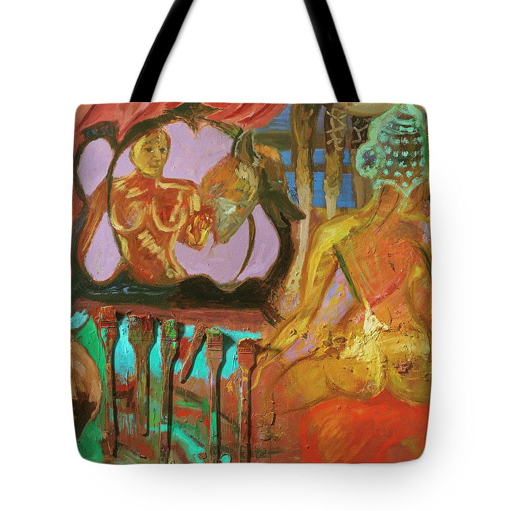 Indian Goddess Tote Bag featuring the painting Female Mystic by Regina Gately