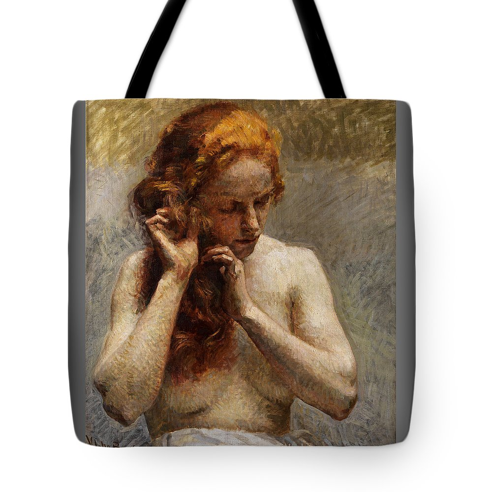 Vlaho Bukovac Tote Bag featuring the painting Female Nude with Red Hair by Vlaho Bukovac