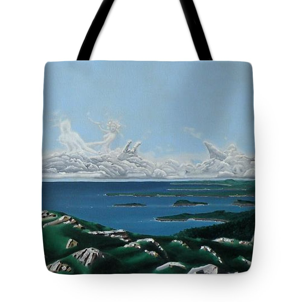 Landscape Tote Bag featuring the painting Feminine Landscape by Dave Martsolf