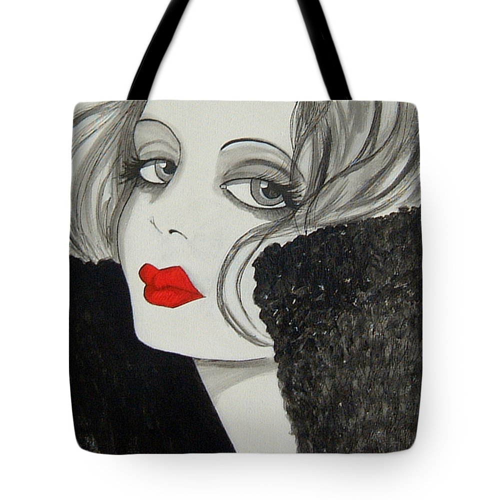 Cinema Tote Bag featuring the painting Femme Fatale by Rosie Harper