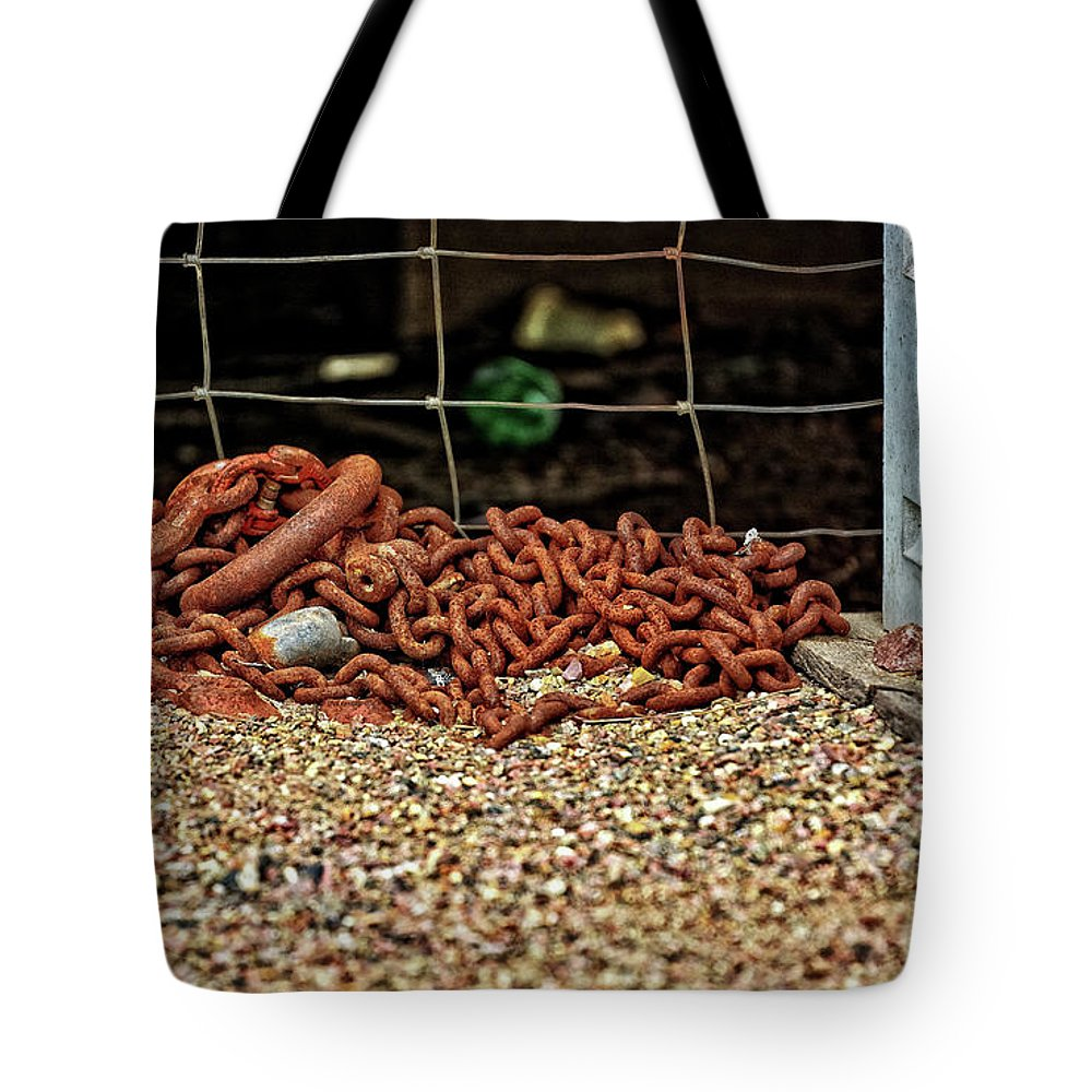 Sioux Falls Tote Bag featuring the photograph Fence And Chain by M Dale
