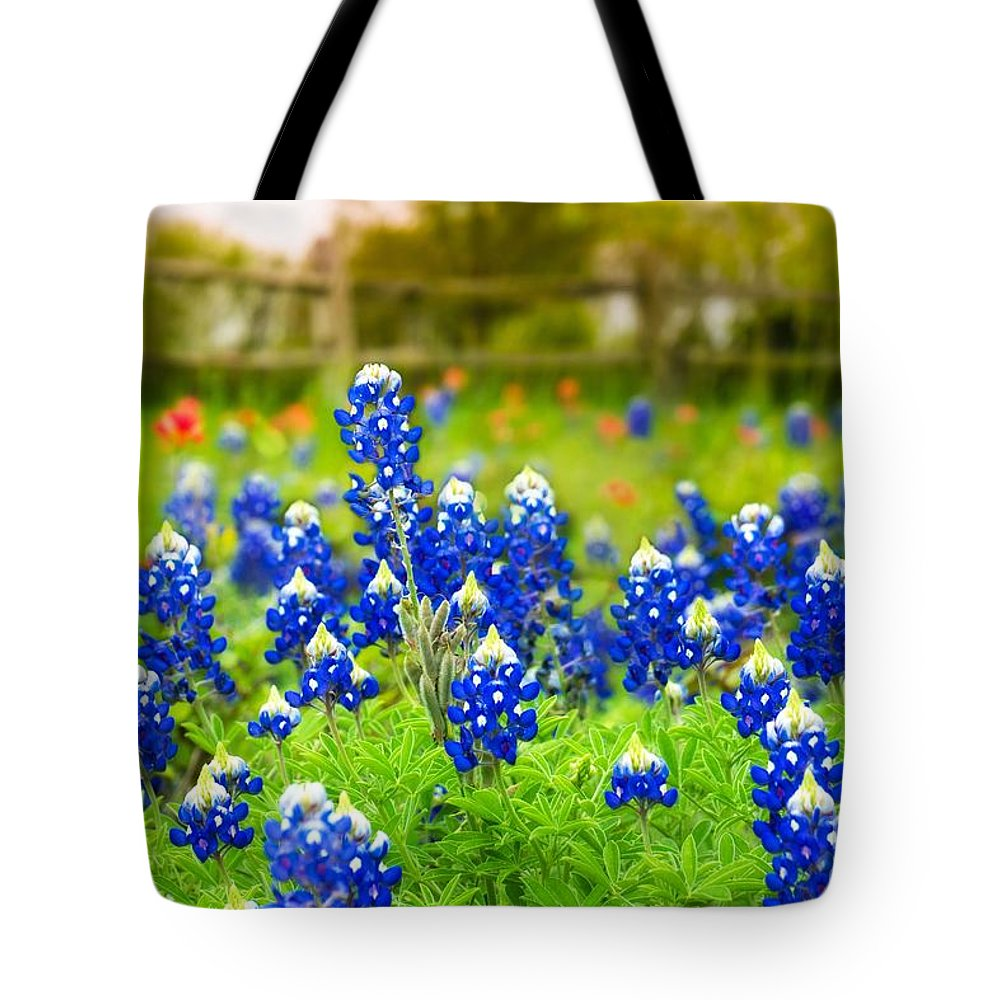 Indian Paintbrush Tote Bag featuring the photograph Fence Me In With Flowers by TK Goforth