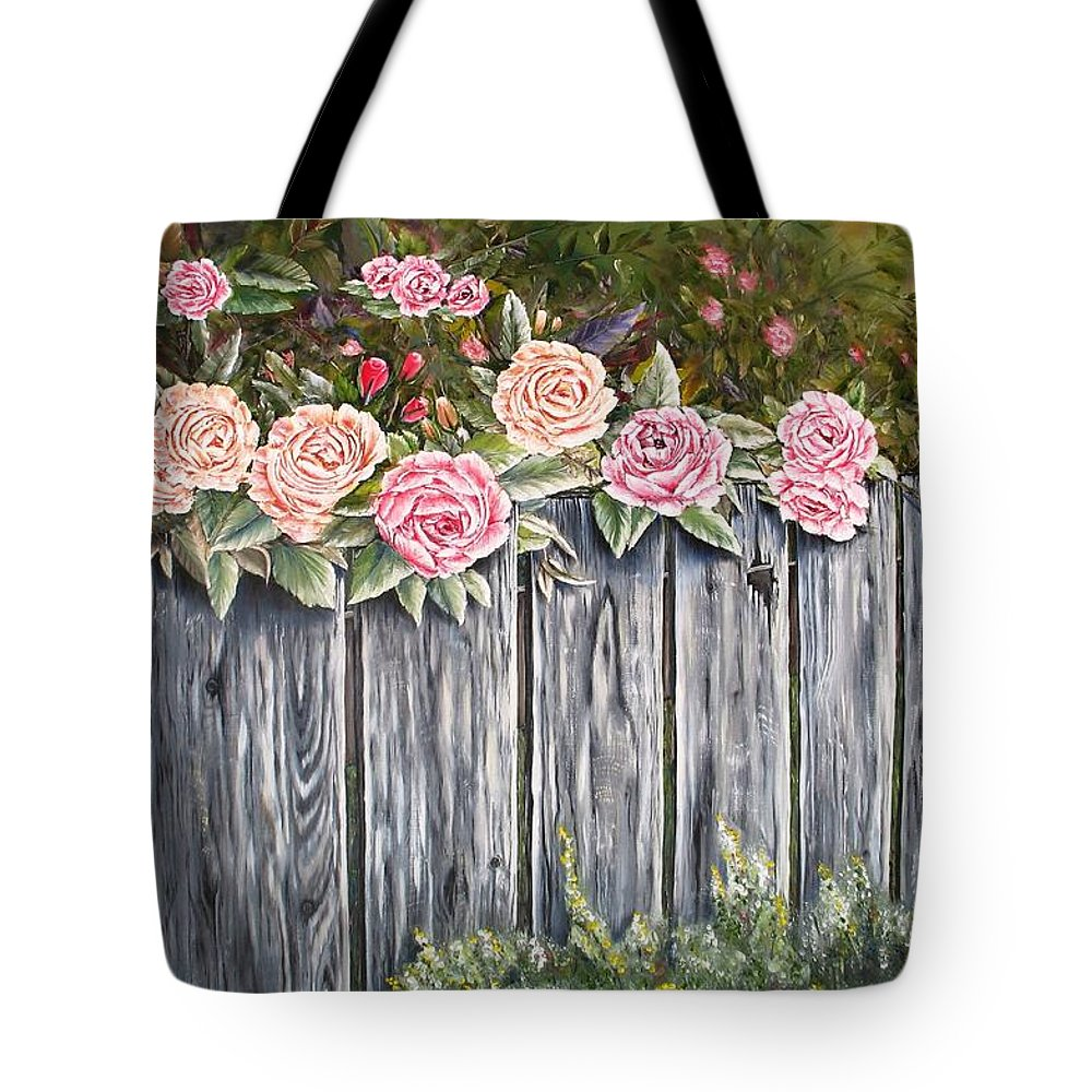 Pink Tote Bag featuring the painting Fence Of Roses by Lisa Cini