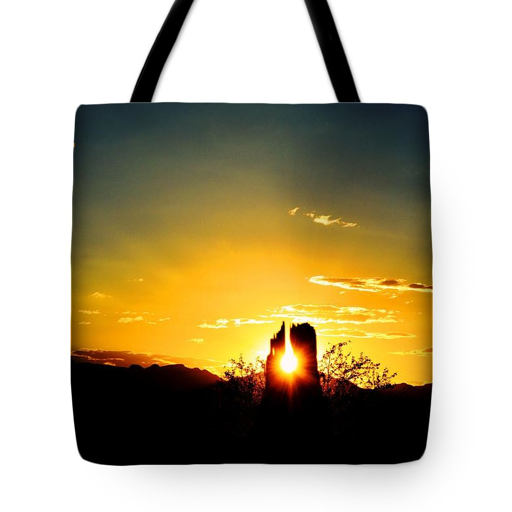 Sunset Tote Bag featuring the photograph Fence Post Sunset by Brent Hall
