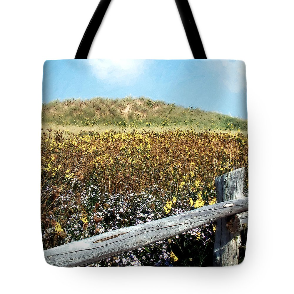 Canada Tote Bag featuring the painting Fence With A View by RC DeWinter