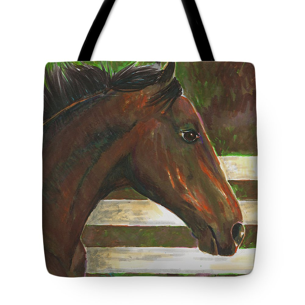 Horse Tote Bag featuring the painting Fenced In by Arline Wagner