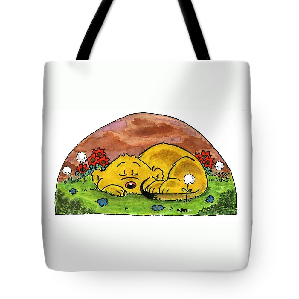 Ferald Tote Bag featuring the painting Ferald Sleeping by Keith Williams