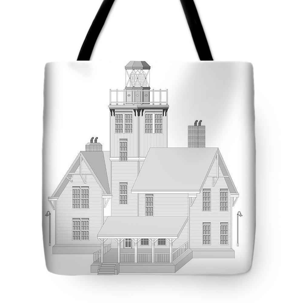 Lighthouse Tote Bag featuring the painting Fermin Model Architectural Drawing by Anne Norskog