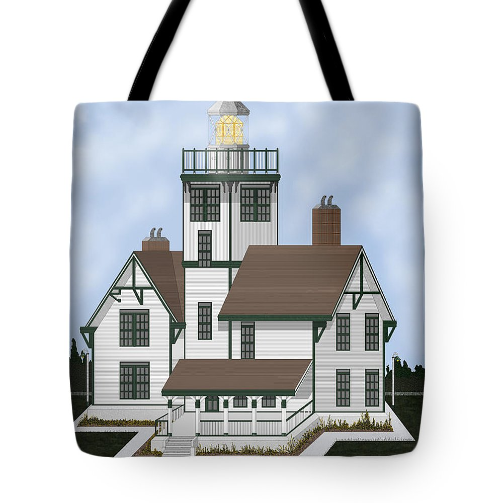 Lighthouse Tote Bag featuring the painting Fermin Model Landscaped by Anne Norskog