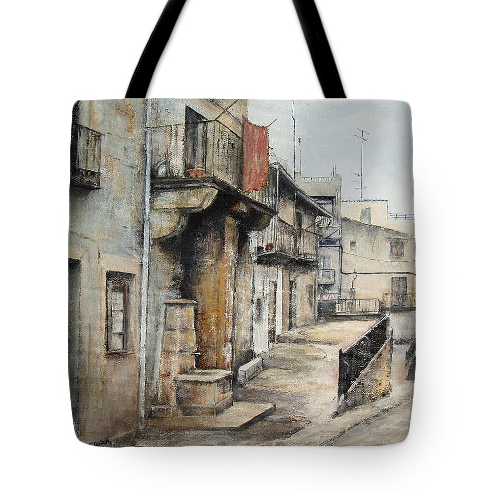 Fermoselle Zamora Spain Oil Painting City Scapes Urban Art Tote Bag featuring the painting Fermoselle by Tomas Castano