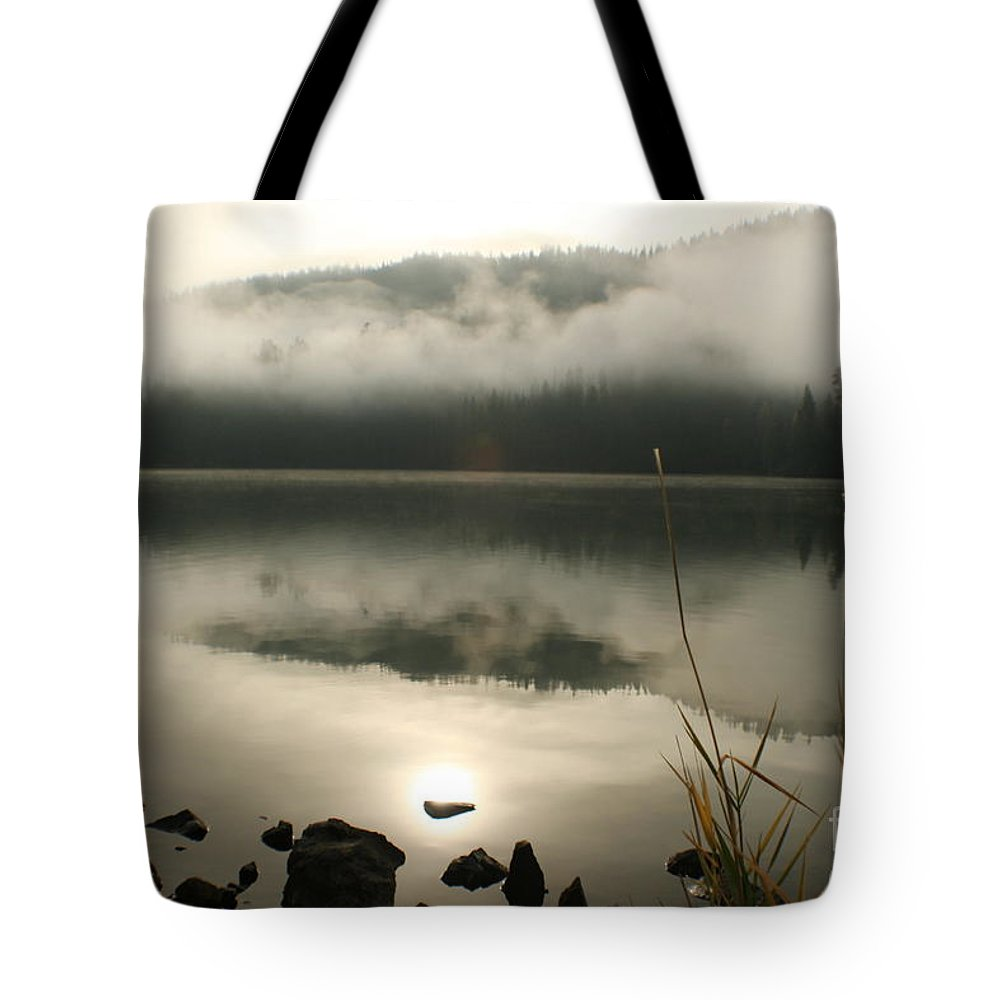 Mist Tote Bag featuring the photograph Fernan Fog by Idaho Scenic Images Linda Lantzy