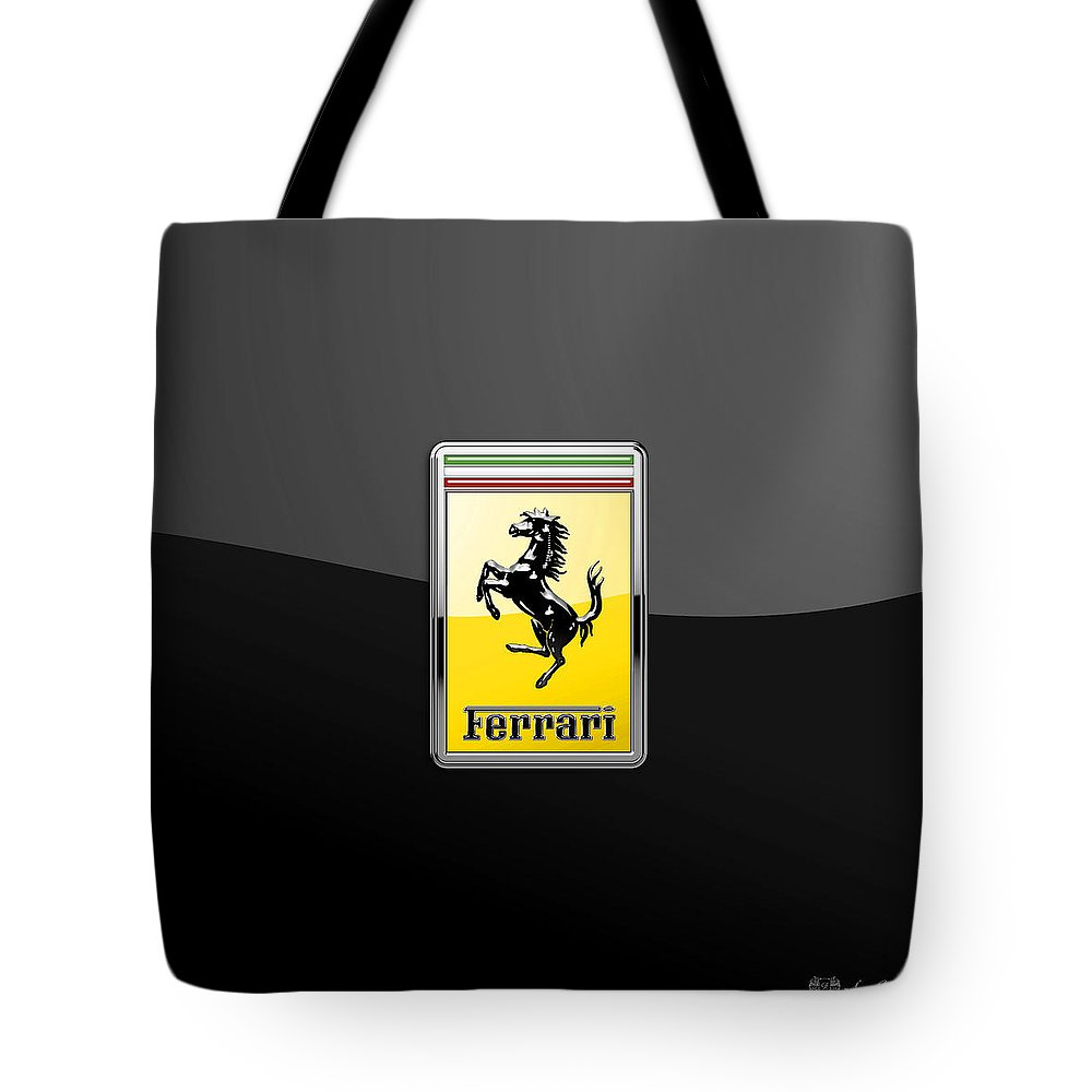 �auto Badges� Collection By Serge Averbukh Tote Bag featuring the photograph Ferrari 3D Badge- Hood Ornament on Black by Serge Averbukh