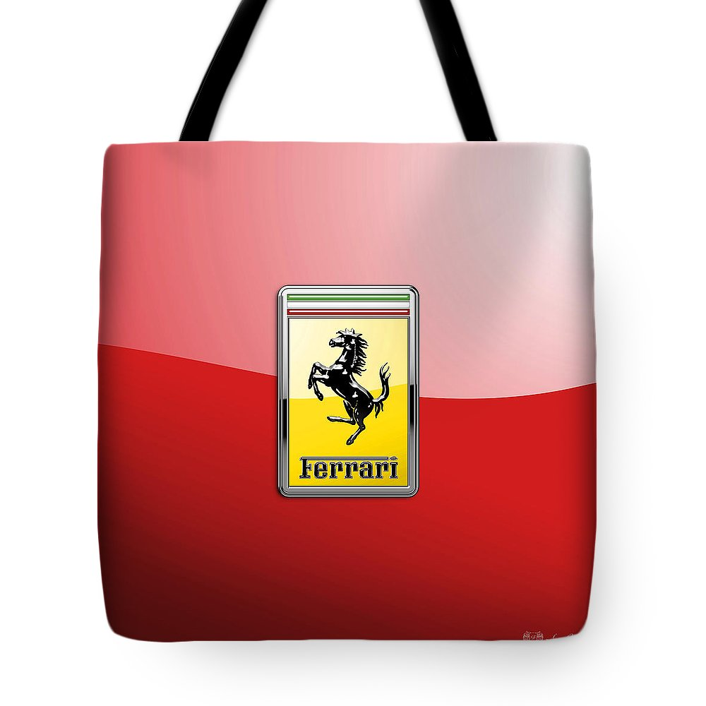 �auto Badges� Collection By Serge Averbukh Tote Bag featuring the photograph Ferrari 3d Badge-hood Ornament On Red by Serge Averbukh