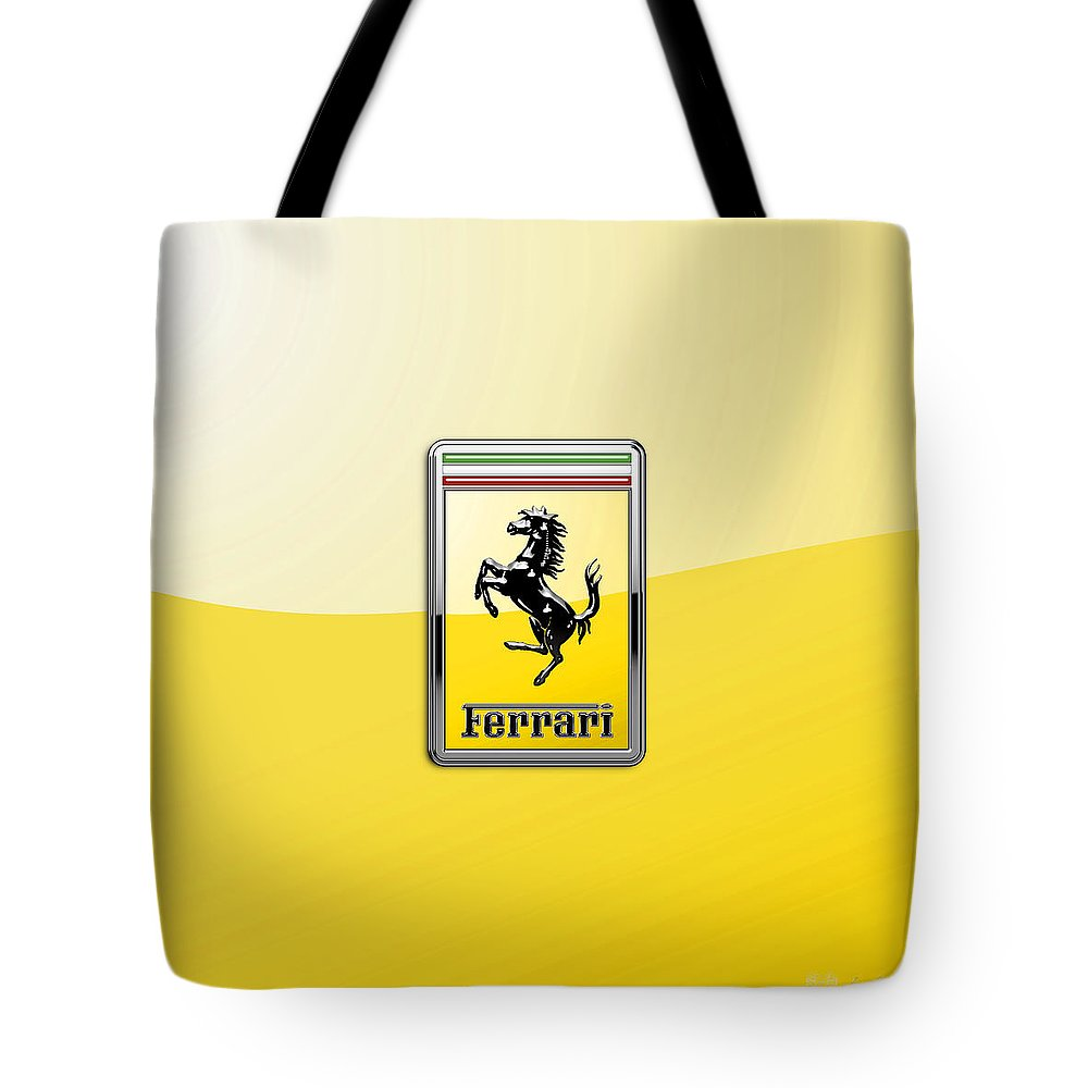 �auto Badges� Collection By Serge Averbukh Tote Bag featuring the photograph Ferrari 3D Badge- Hood Ornament on Yellow by Serge Averbukh