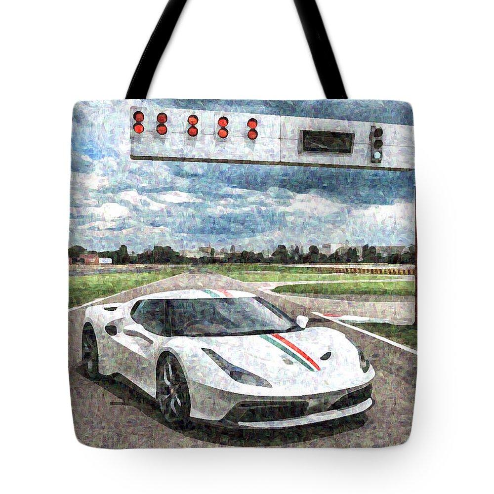 Ferrari 458 Tote Bag featuring the digital art Ferrari 458 by Lora Battle