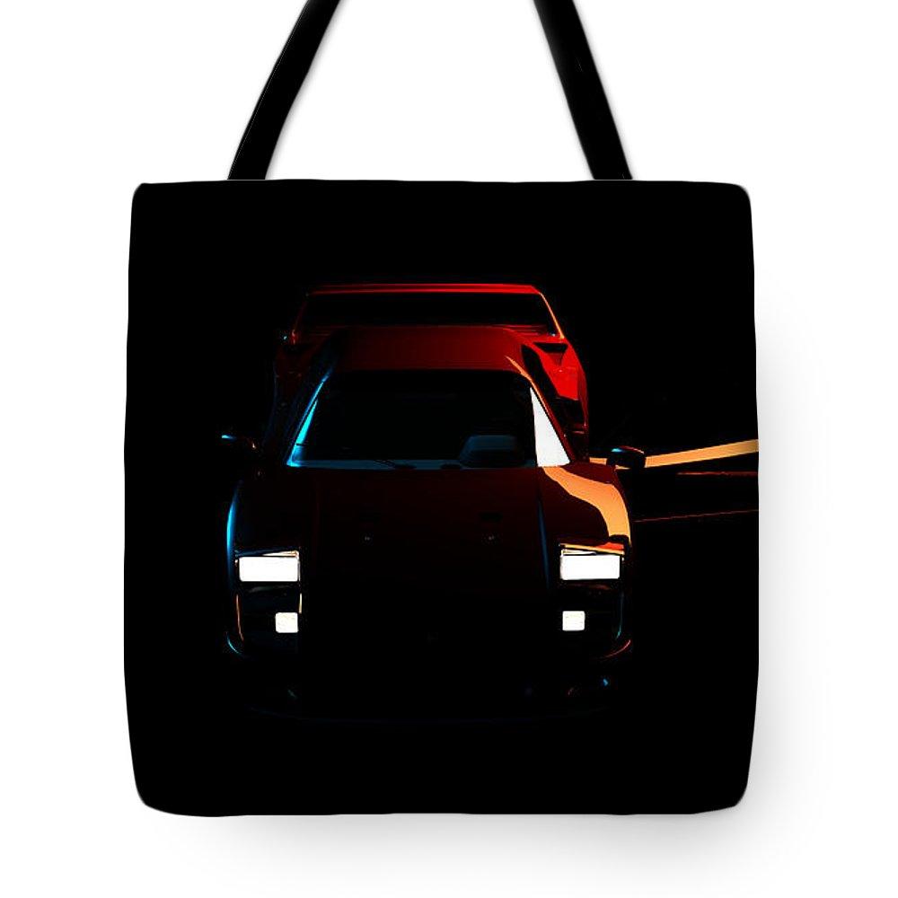 Car Tote Bag featuring the digital art Ferrari F40 001 by Alex Rota
