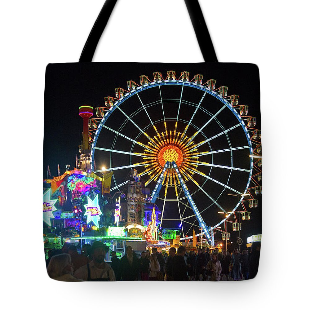 Ferris Tote Bag featuring the photograph Ferris Wheel At Night by Bernard Barcos