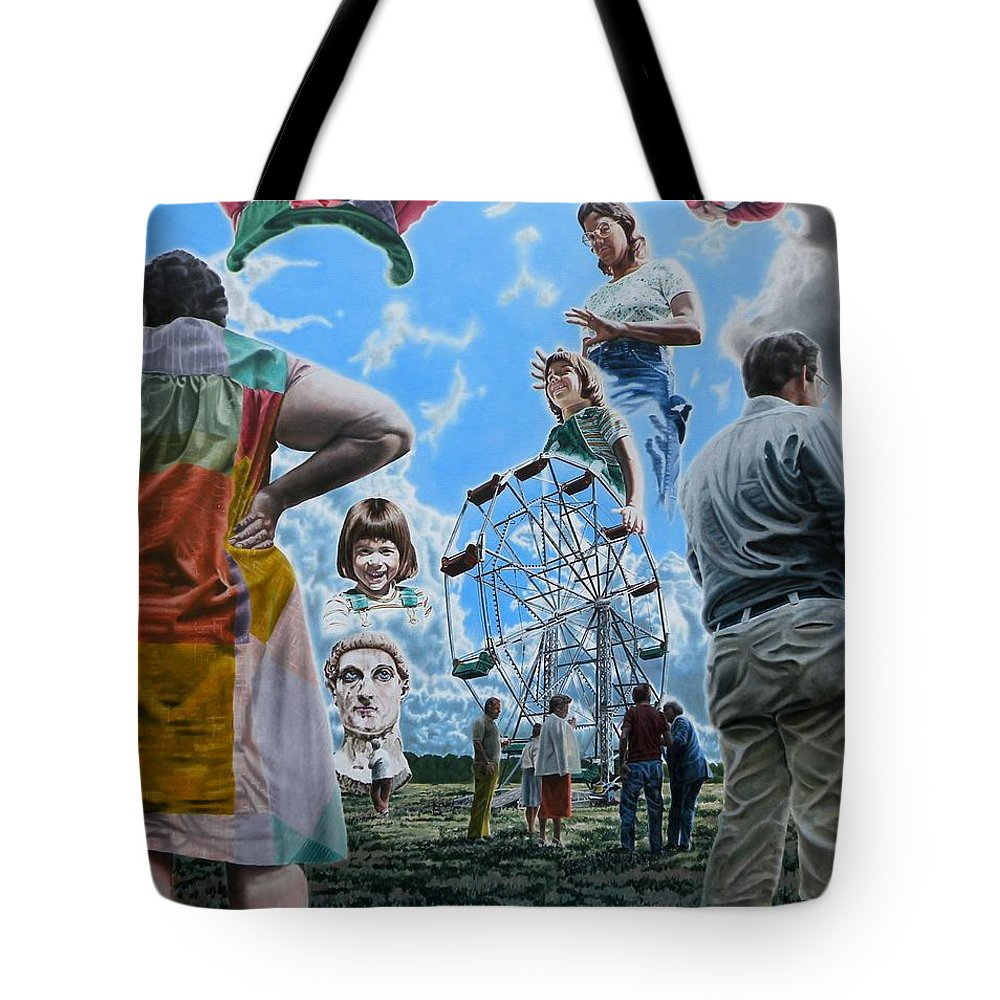 Woman Tote Bag featuring the painting Ferris Wheel by Dave Martsolf