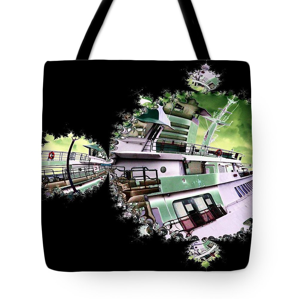 Seattle Tote Bag featuring the digital art Ferry In Fractal by Tim Allen