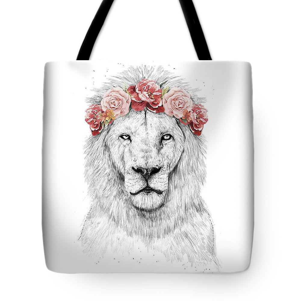 Lion Tote Bag featuring the drawing Festival lion by Balazs Solti