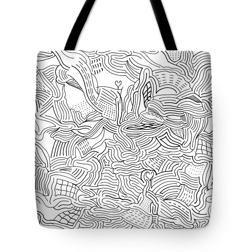 Mazes Tote Bag featuring the drawing Fever by Steven Natanson