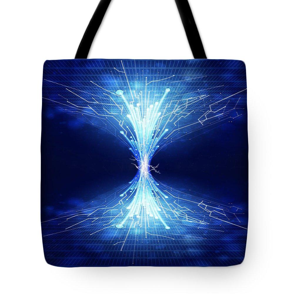 Abstract Tote Bag featuring the photograph Fiber Optics And Circuit Board by Setsiri Silapasuwanchai