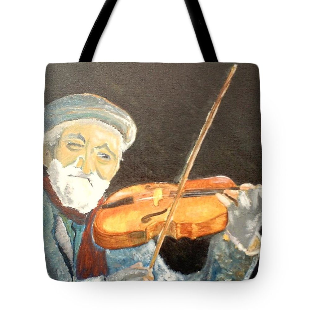 Hungry He Plays For His Supper Tote Bag featuring the painting Fiddler Blue by J Bauer