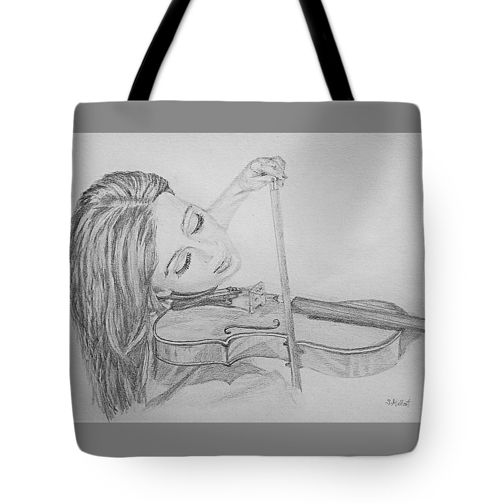 Sketch Tote Bag featuring the drawing Fiddler by Sheryl Gallant