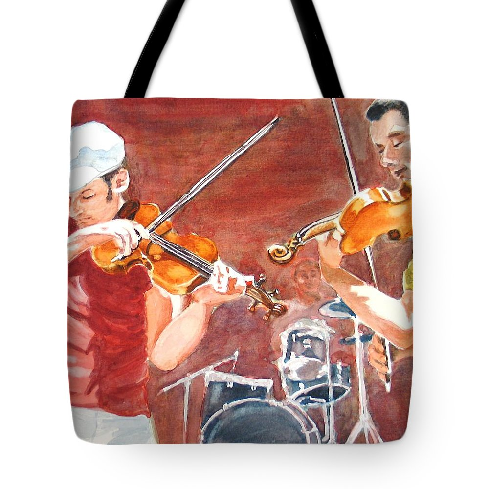 Musicians Tote Bag featuring the painting Fiddles by Karen Ilari