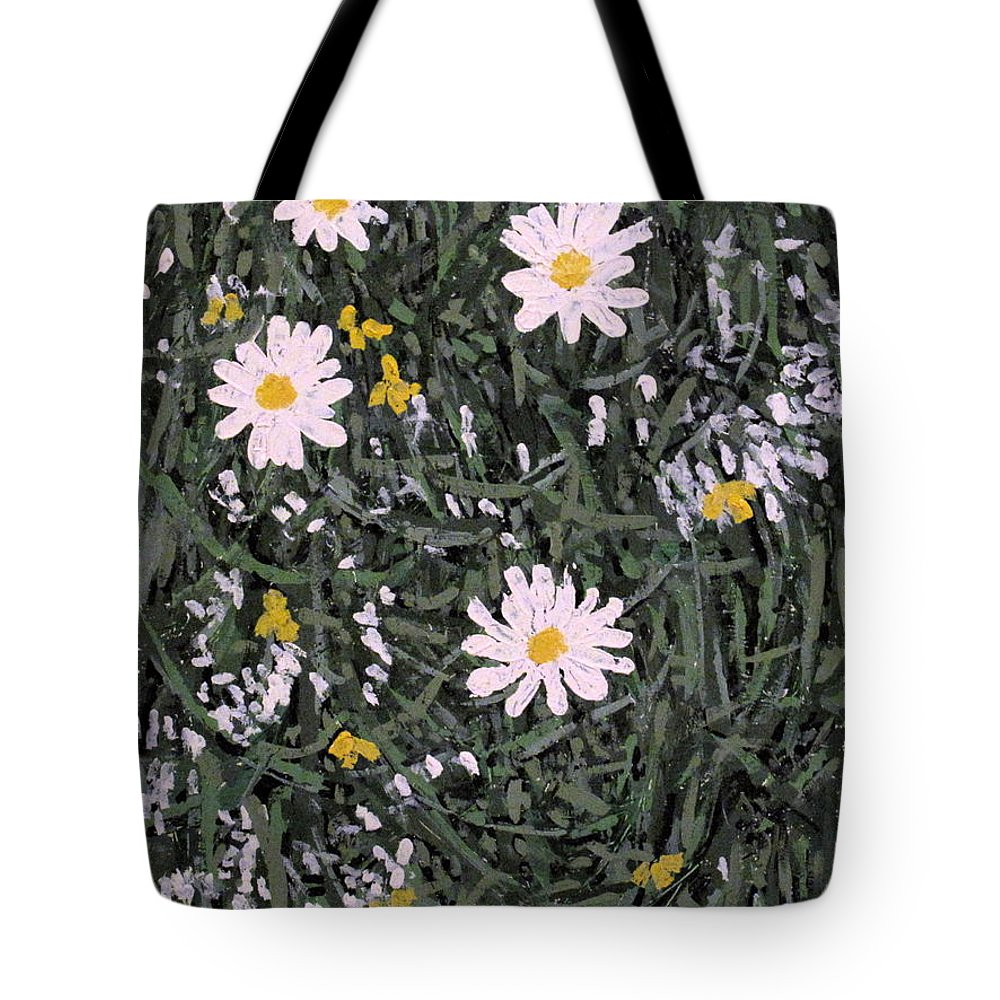 Daisies Tote Bag featuring the painting Field Daisies by Ian MacDonald