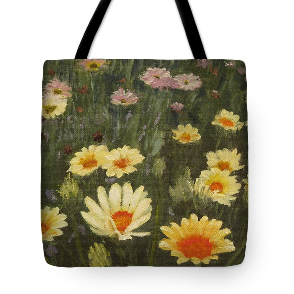 Flower Tote Bag featuring the painting Field Of Flowers by Lea Novak