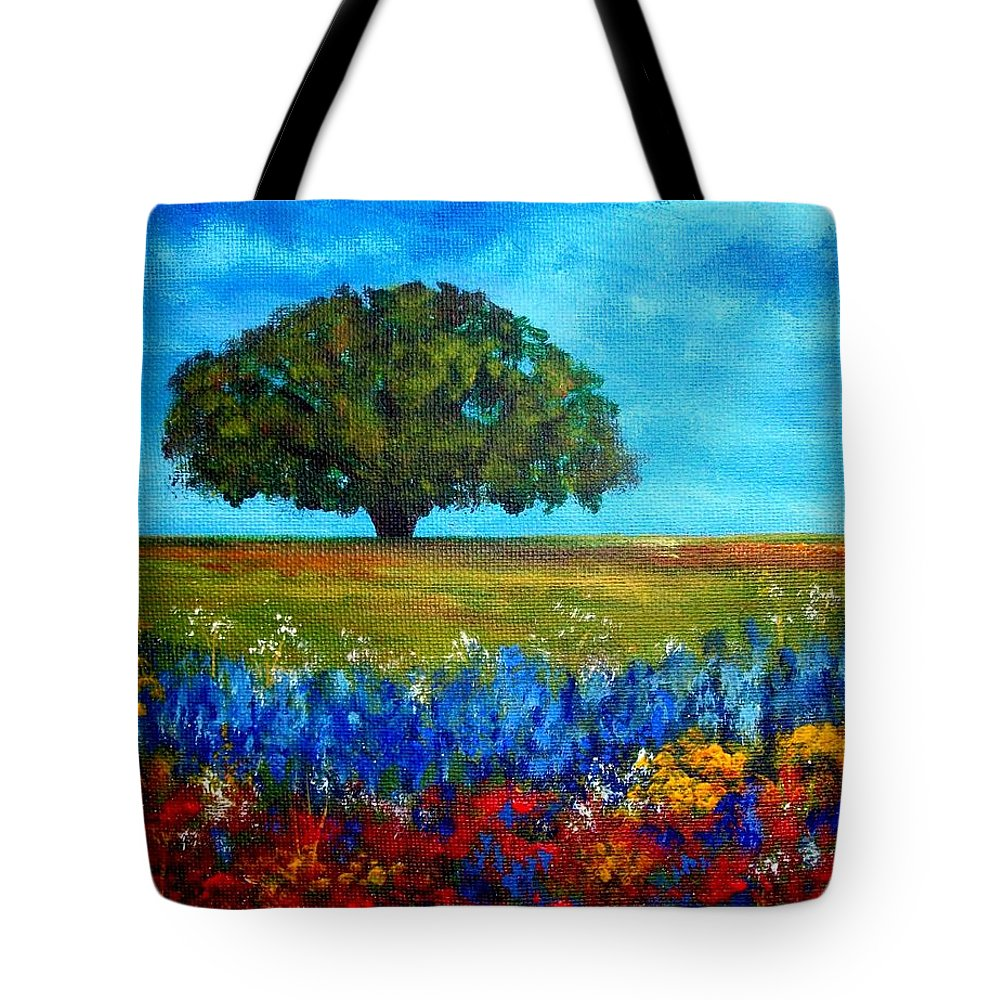 Landscape Tote Bag featuring the painting Field of Flowers by Tami Booher