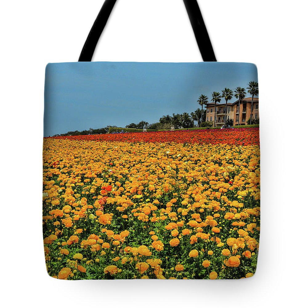 Flowers Tote Bag featuring the photograph Field Of Flowers by Tommy Anderson