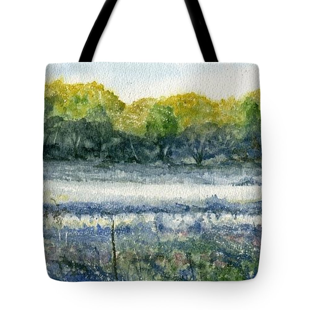 Minnesota Tote Bag featuring the painting Field Of Frost by Mary Tuomi
