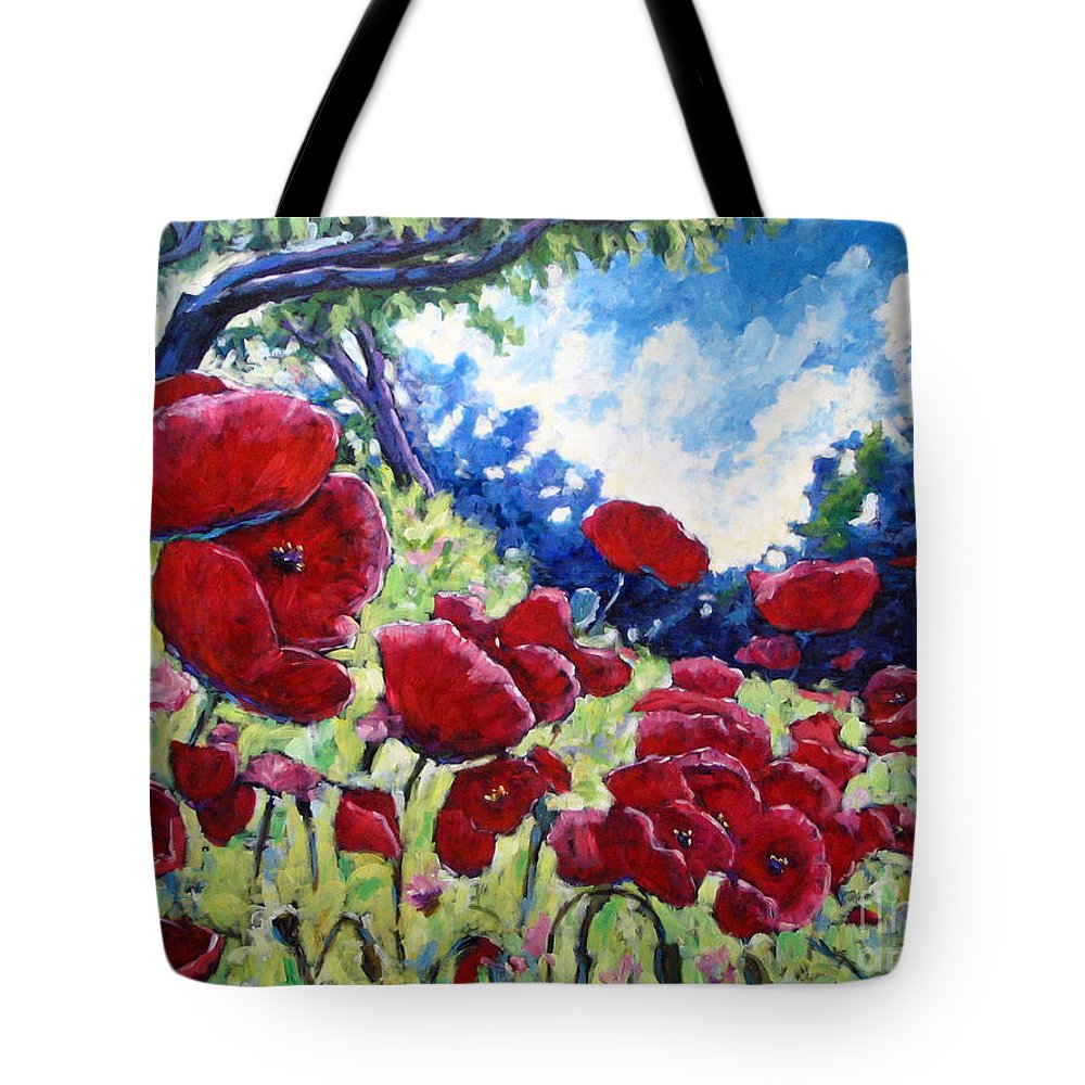 Poppies Tote Bag featuring the painting Field Of Poppies 02 by Richard T Pranke